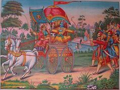300px-Subhadra, the half sister of Krishna, drives a chariot away from Dwarka with Arjuna and Krishna inside.