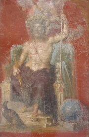 Painting of a bearded, seated Jupiter, unclothed from the waist up and holding a staff