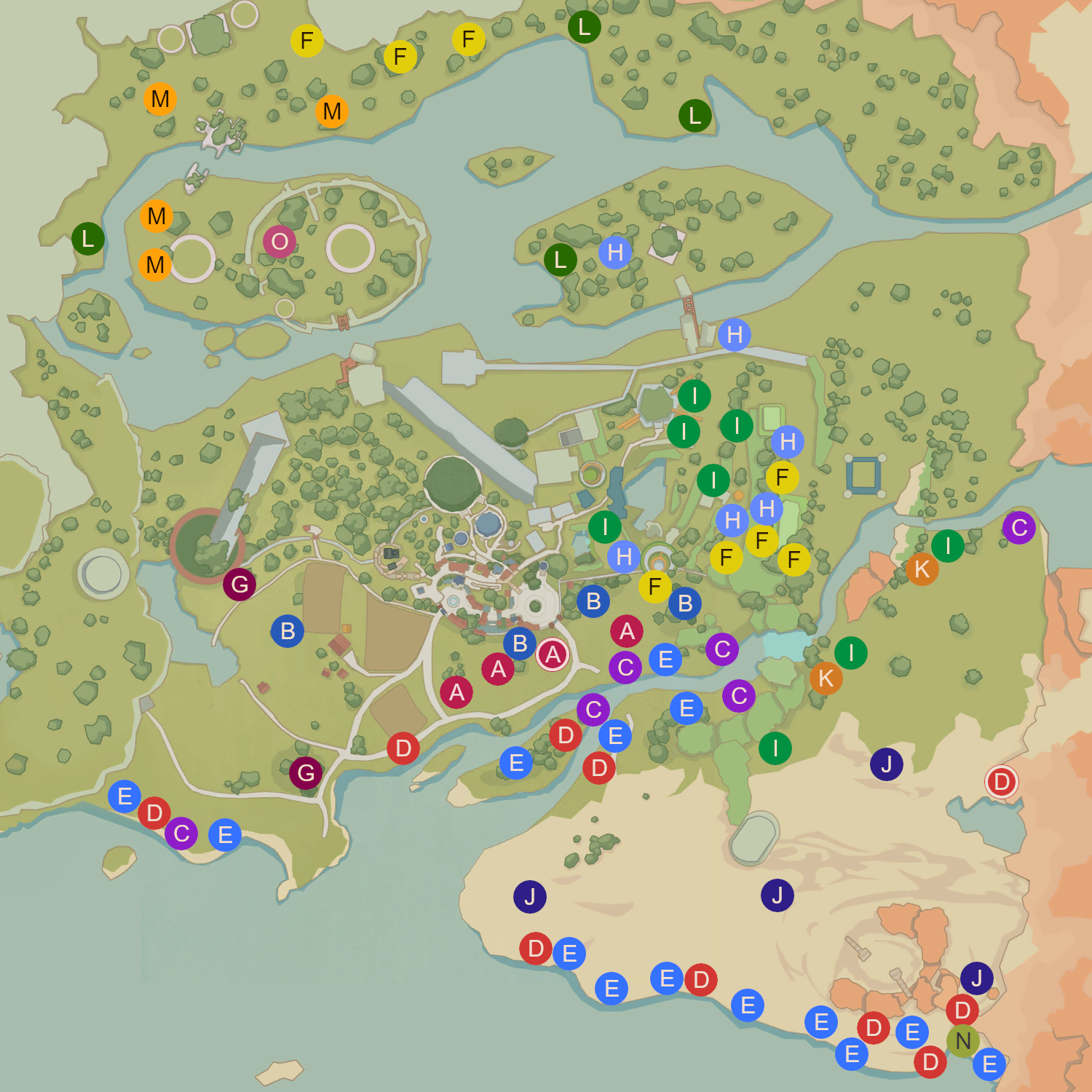 Monster spawns map