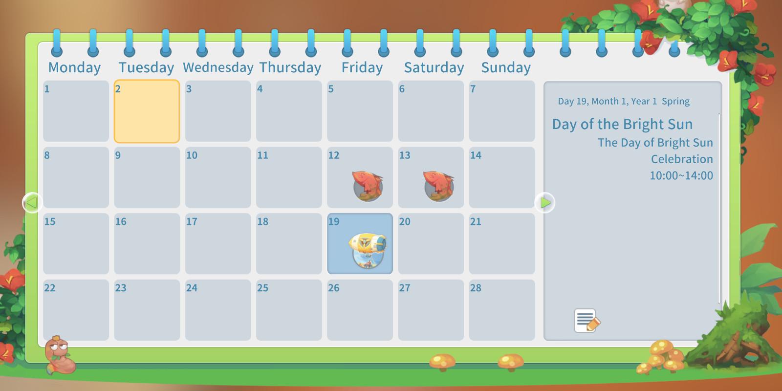Main nav calendar