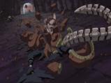 Sakura demonstrując swoje umiejętności niszczy Hiruko