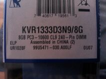 8G , 8GB PC 3, 10600 CL9 240 Pin Dimm