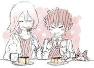 Kamatani Raikou Shimizu and Gau Meguro with cake
