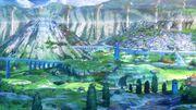 Nagi no asukara-04-shioshishio-underwater village-fish-sunlight-water surface-mountains-greenery-bridges