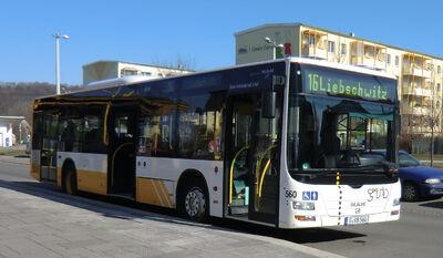GVB-Bus Linie 16 in Gera-Zwoetzen
