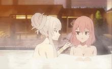Karin and Yuzu in hot springs