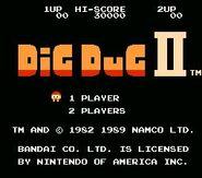 Dig Dug II NES Title Screen
