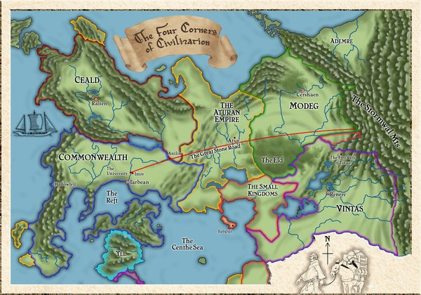 Kingkiller Chronicles Map The Four Corners of Civilization | Kingkiller Chronicle Wiki