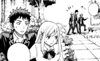 Ryu and Urara hide from the students