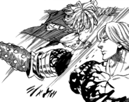 Meliodas slicing off Hendrickson's arm