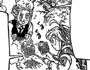 Arthur and Meliodas cooking in the maze