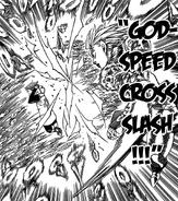 Jericho breaking King's defense using her Godspeed Cross Slash