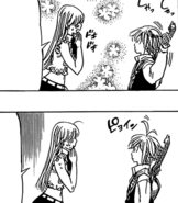 Meliodas trying the comb Elizabeth gave him