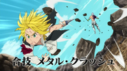 Meliodas attacking Hendrickson with Combined attack Metal Crush