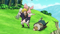 Meliodas saving Elizabeth Hawk and Alioni