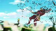 Meliodas repele el ataque de Twigo