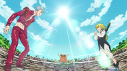 Ban and Meliodas facing in the ring