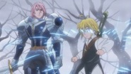 Meliodas breaking Gilthunder's magic