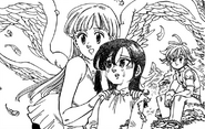 Merlin with Elizabeth and Meliodas