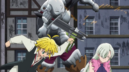 Meliodas saving Elizabeth from Golgius' attack