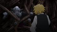 Golgius falling into Meliodas trap