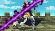 Meliodas dodging Hendrickson's attack (anime)