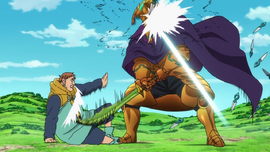 King and Helbram exchanging blows