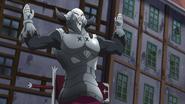 Golgius pretending to rise his hands