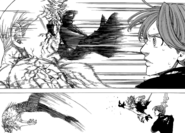 Meliodas kicking Hendrickson in the face