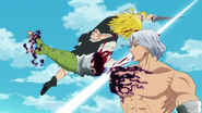 Meliodas cutting Hendrickson's arm
