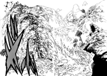 Meliodas slicing a mountain with just a stick