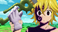 Meliodas taking his sword back, along with Guila's hand
