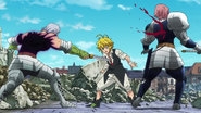 Hendrickson stabbing both Gilthunder and Meliodas