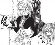 Meliodas lifts up Elizabeth skirt