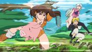 Meliodas, Elizabeth and Hawk dodging Diane's attack
