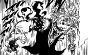 Meliodas using demonic power to re-attach his hand