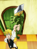 Meliodas showing his Dragon Handle