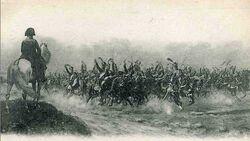Gardes d' Honneur salute Napoleon at Champaubert
