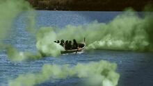 Зелёный туман у лодок ПЗф