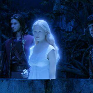 Лилиандил показывает Каспиану и его друзьям остров Тьмы