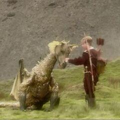 Юстас успокаивает дракона в Эттинсмуре