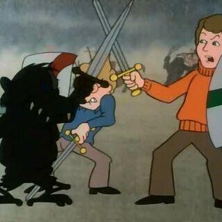 Питер и Эдмунд сражаются в мультфильме