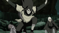 Orochimaru arrives to the battlefield
