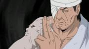 El rostro de Hashirama manifestado en el brazo de Danzo
