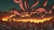 El Nueve Colas destruyendo Konoha