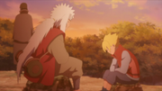 Jiraiya, Boruto and Sasuke discussing Naruto's rampage