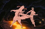 Akamaru golpeado por Zetsu