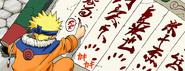 Naruto assinando o pergaminho (Mangá Colorido)