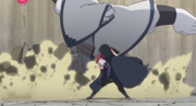 Kinshiki carga contra Sasuke y Sarada