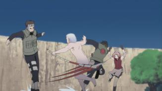 Yamato and Sakura vs Hidan and Hayate